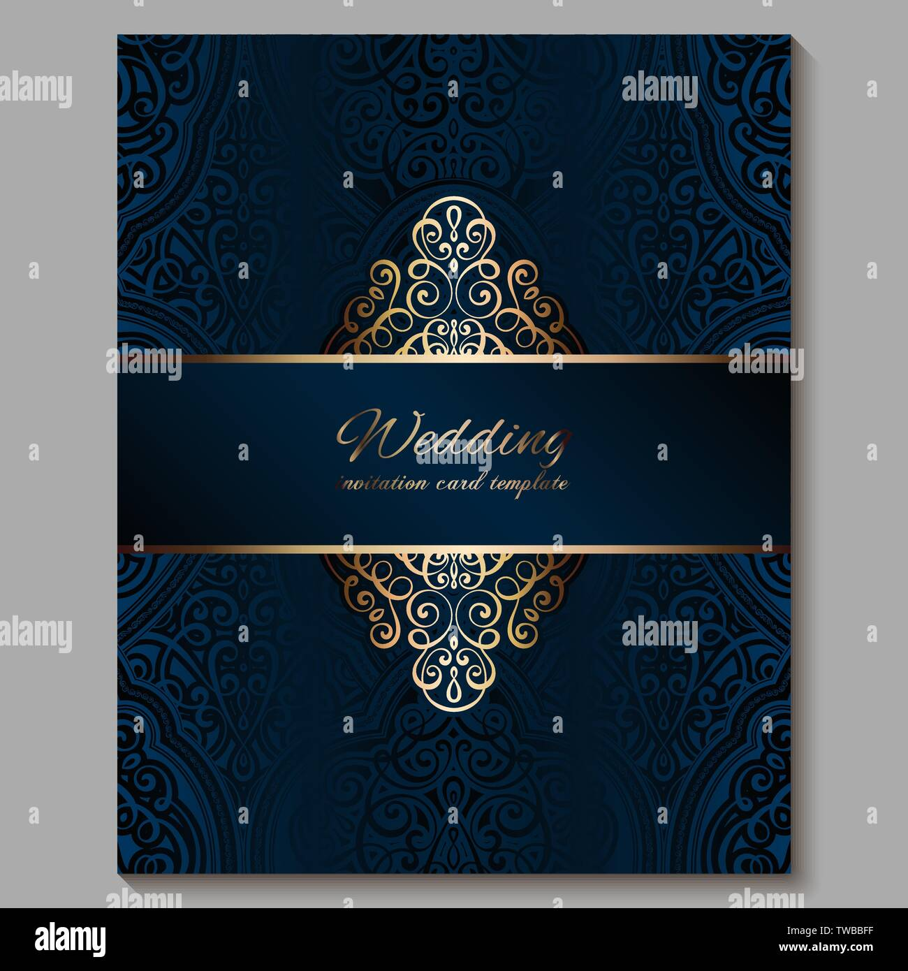 https www alamy com wedding invitation card with gold shiny eastern and baroque rich foliage royal blue ornate islamic background for your design islam arabic indian image256562083 html