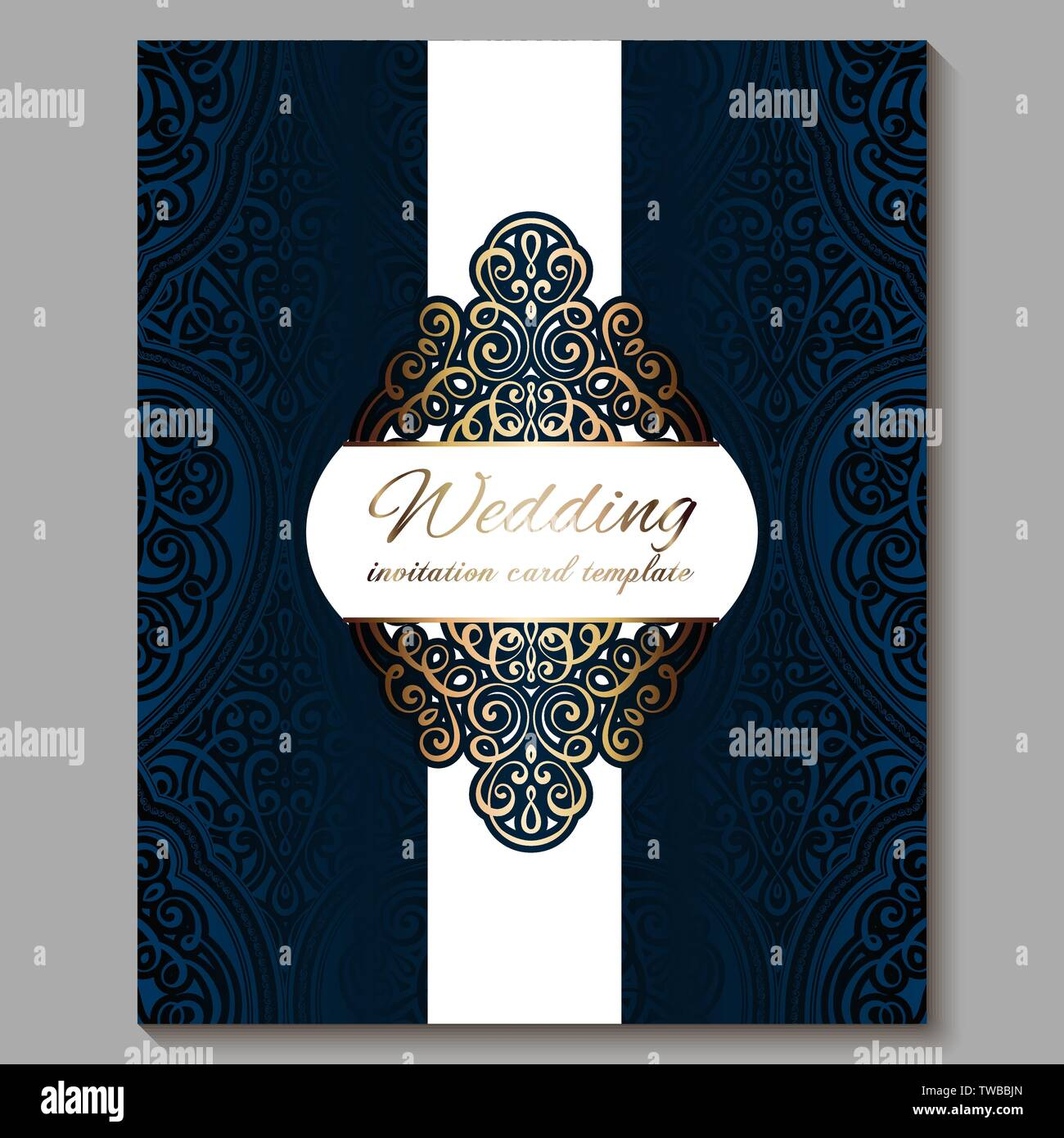 https www alamy com wedding invitation card with gold shiny eastern and baroque rich foliage royal blue ornate islamic background for your design islam arabic indian image256562173 html