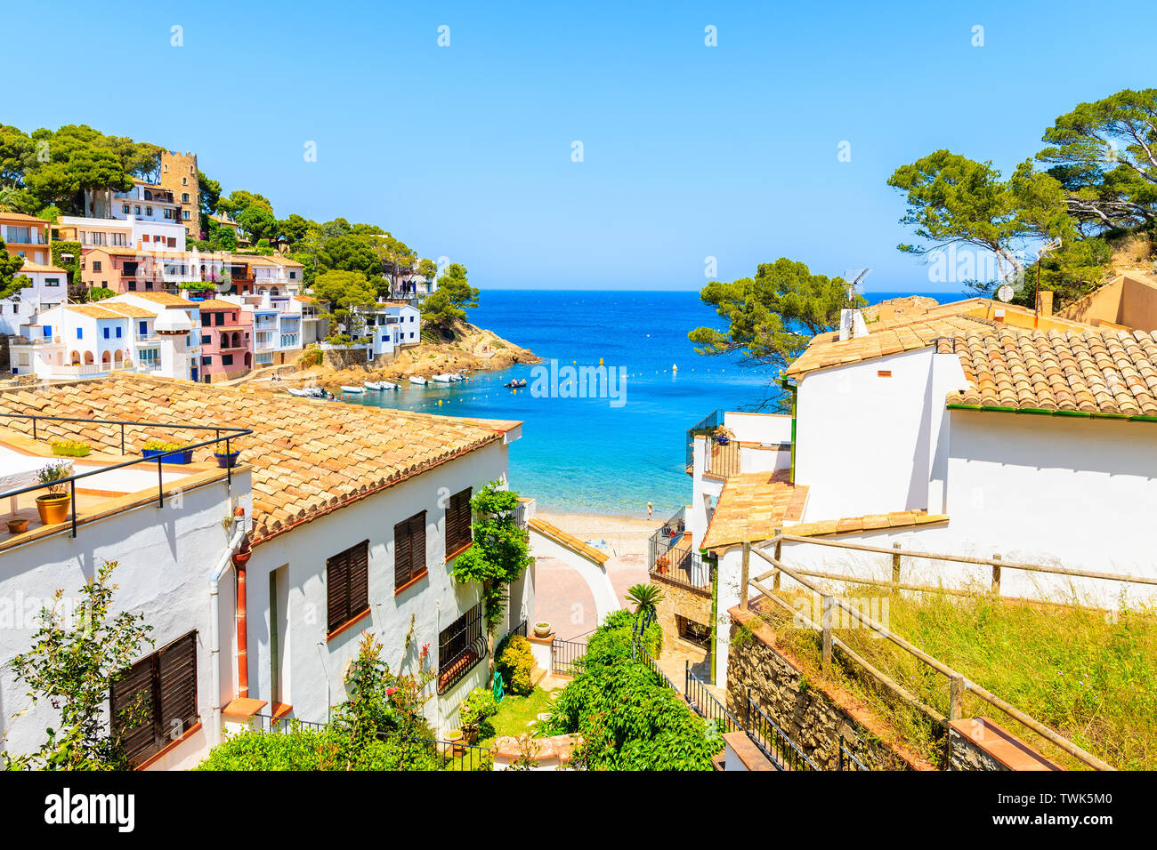 https www alamy com white houses with orange tile roofs and steps to beach in sa tuna coastal fishing village costa brava spain image256733120 html