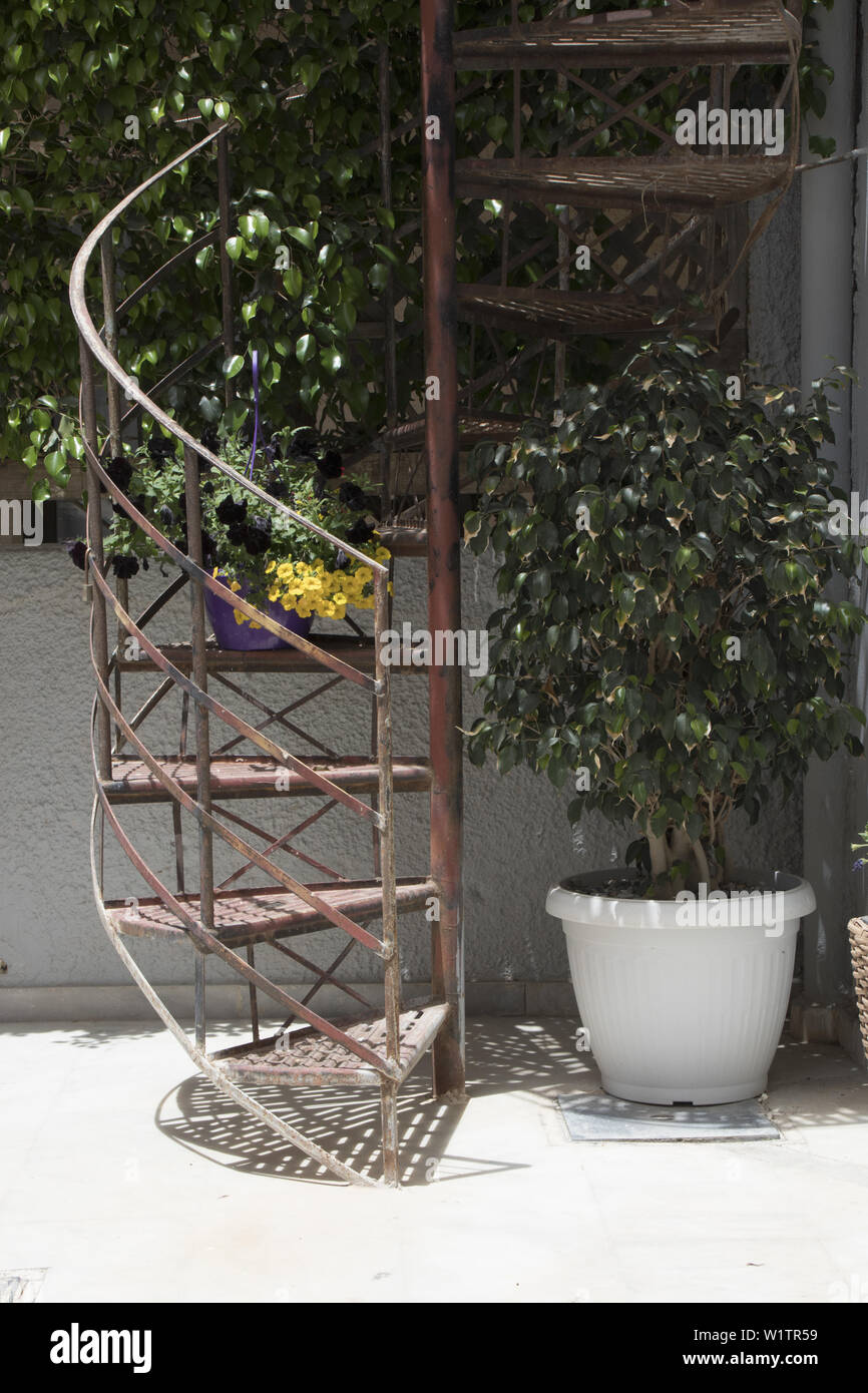 Outdoor Spiral Staircase In Paleochora South West Crete Greece Stock Photo Alamy