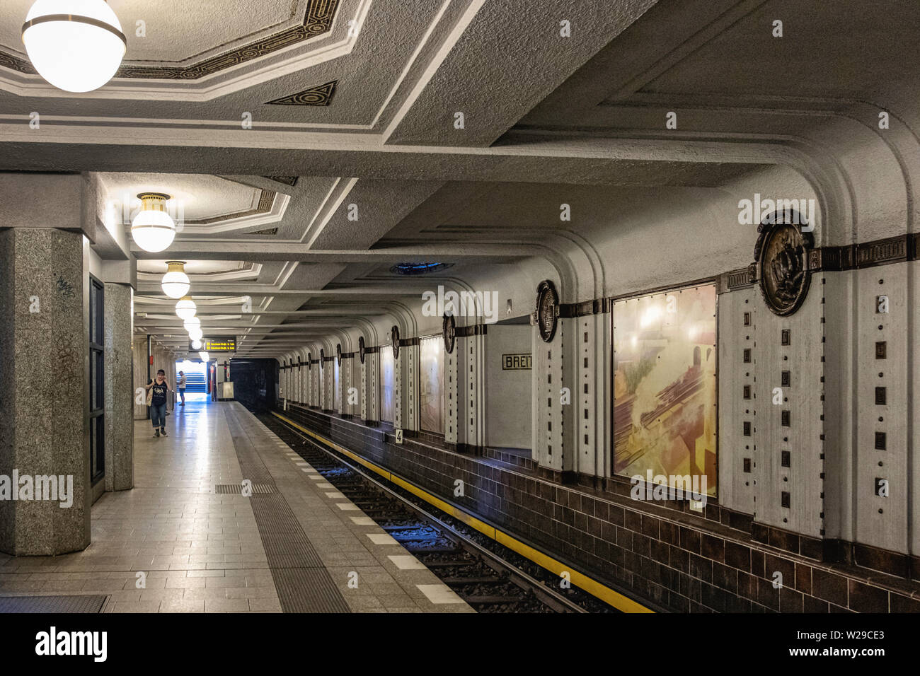 https www alamy com berlin dahlem districtbreitenbachplatz u bahn underground railway station interior platform decorative tiles medallions old paintings image259592203 html