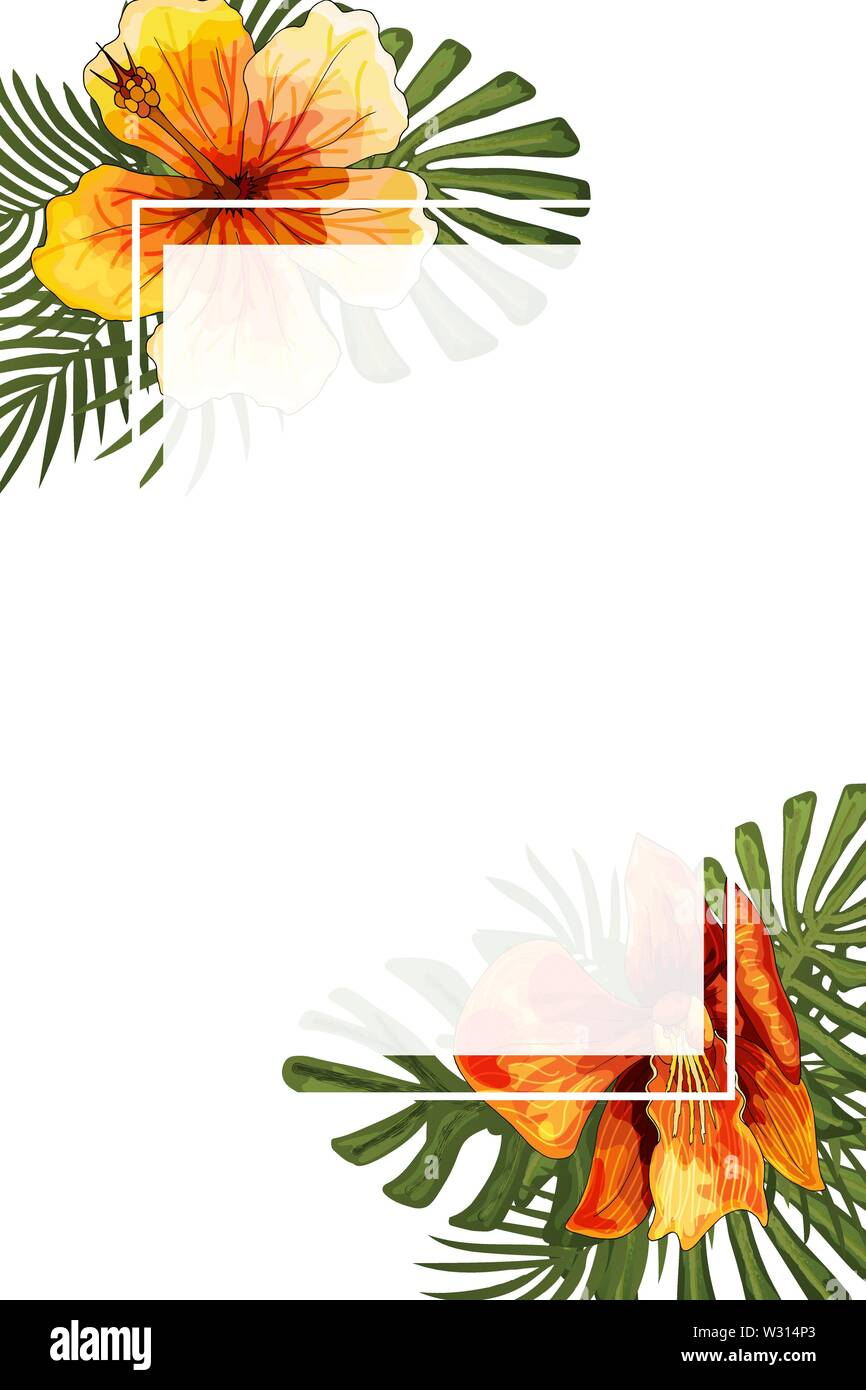 https www alamy com wedding invitation card floral jungle blank frame postcard template image260025195 html