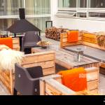 Outdoor Restaurant Terrace With Wooden Furniture In Scandinavian Style Eco Friendly Authentic Design Stock Photo Alamy