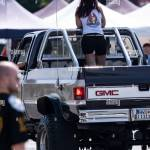 Hanover Germany 20th July 2019 A Woman Rides On The Loading Area Of A Gmc Pickup Truck During The Street Mag Show In Hannover Around 2500 Motorized Classic Cars From The Usa
