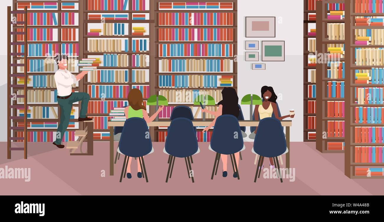 Mix Race People Reading Books Women Sitting At Round Table