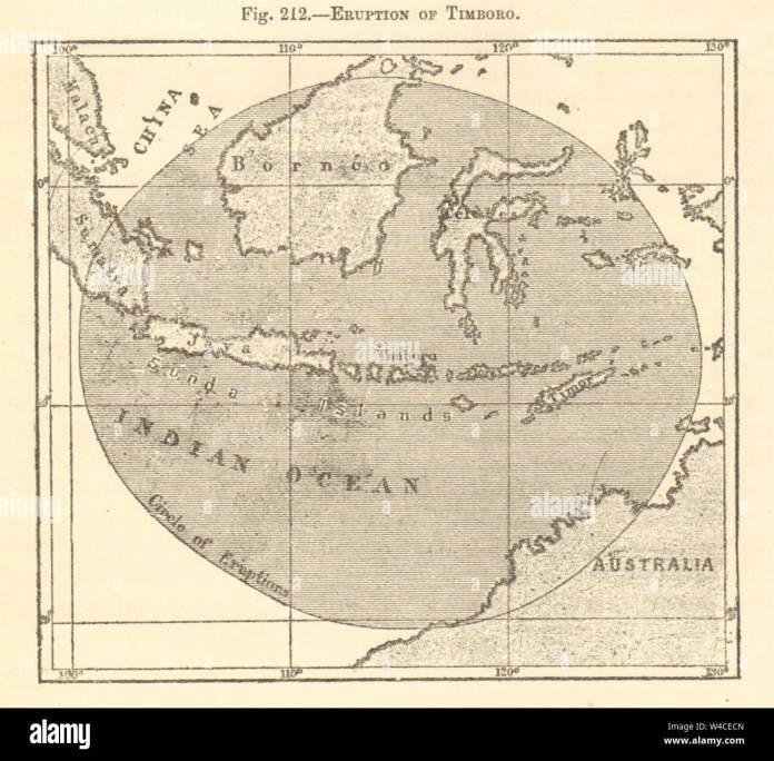 Mount Tambora Or Tomboro Eruption Sumbawa 1815 Indonesia Sketch Map 1886 Stock Photo Alamy