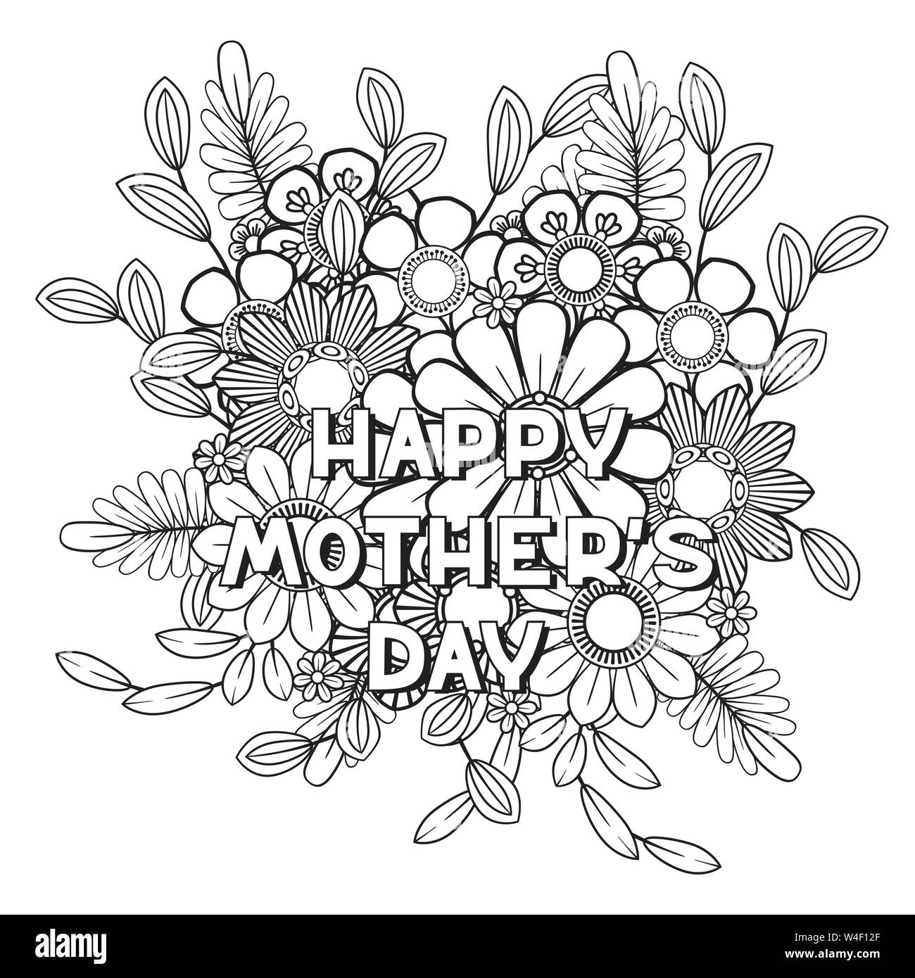 Happy Mother S Day Coloring Page For Adult Coloring Book Black And White Vector Illustration Isolated On White Background Stock Vector Image Art Alamy