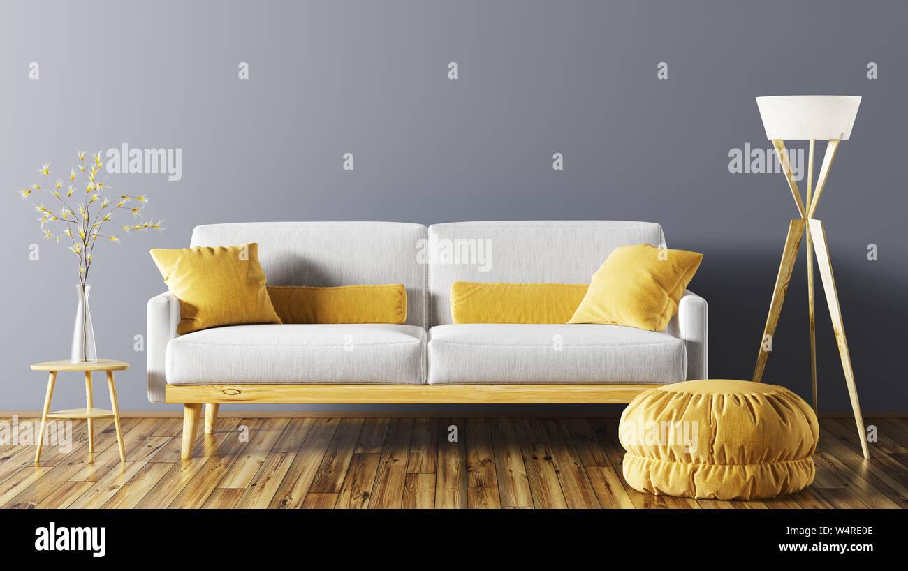 Modern Interior Of Living Room With Grey Sofa Ottoman And