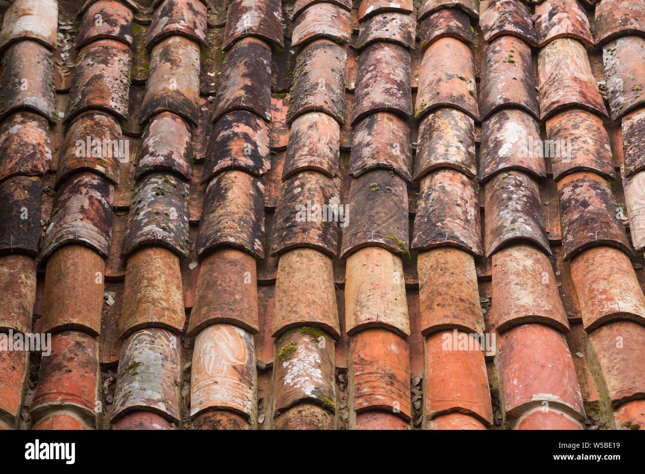 https www alamy com close up of old brown coloured terracotta monk and nun or mission or barrel roof tiles on building at the convent of the capuchos colares portugal image261481285 html