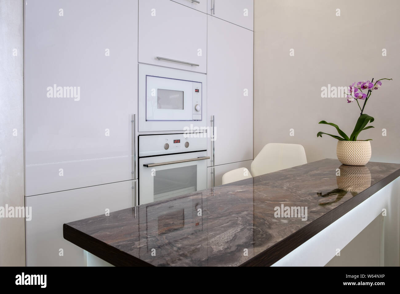 https www alamy com footage of built in modules in kitchen interior shot built in microwave and oven interior of white modern kitchen image261948478 html