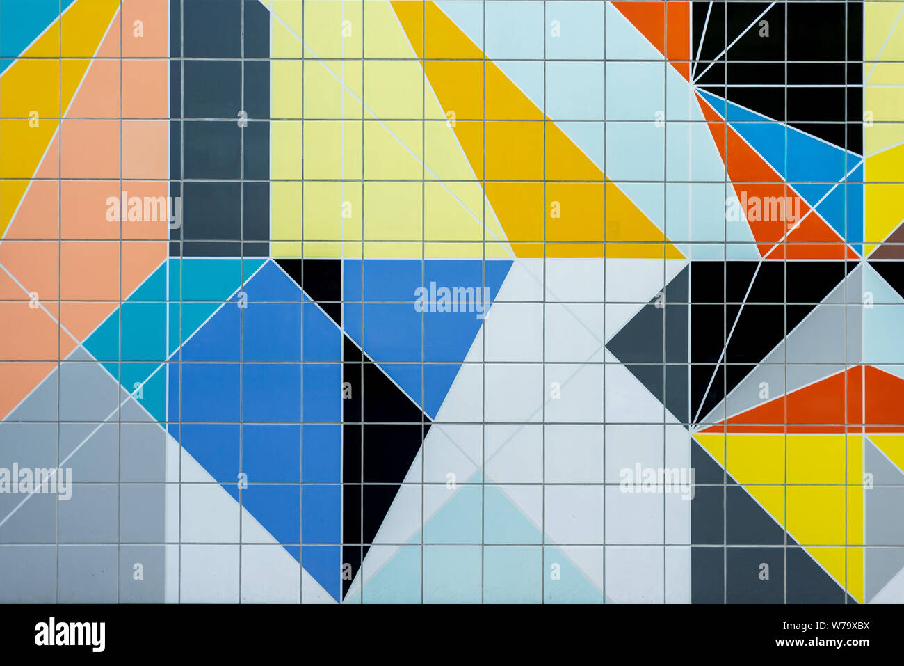 https www alamy com grid square ceramic tile wall with colourful geometric shape and form random pattern with minimal modern post modern bauhaus style image262676398 html