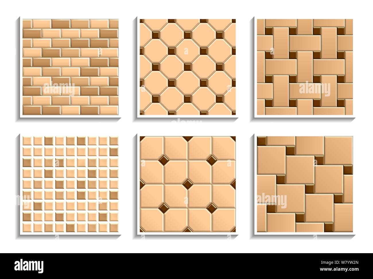https www alamy com set of seamless floor and wall tiles textures vector repeated patterns of mosaic subway brick hopscotch octagon dot basketweave image263070493 html