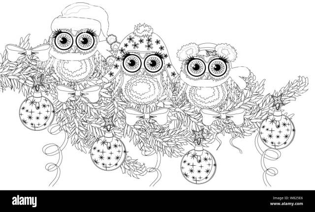 Coloring book page of owl and christmas tree for adult and old