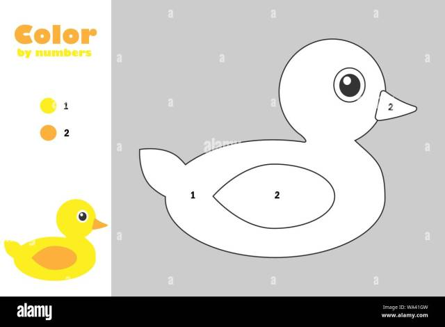 Duck in cartoon style, color by number, education paper game for