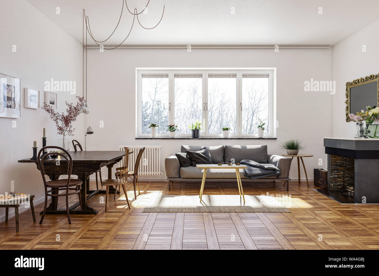 https www alamy com spacious living room with vintage style hardwood parquet floor a fireplace with mirror dining table and chairs and sofa under a sunny window 3d ren image264402758 html