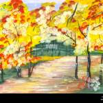 Watercolor Image Of Autumn Path In Park With Colored Trees Road In Forest Drawing Watercolor Abstract Watercolor Landscape Park With Autumn Alley Stock Photo Alamy