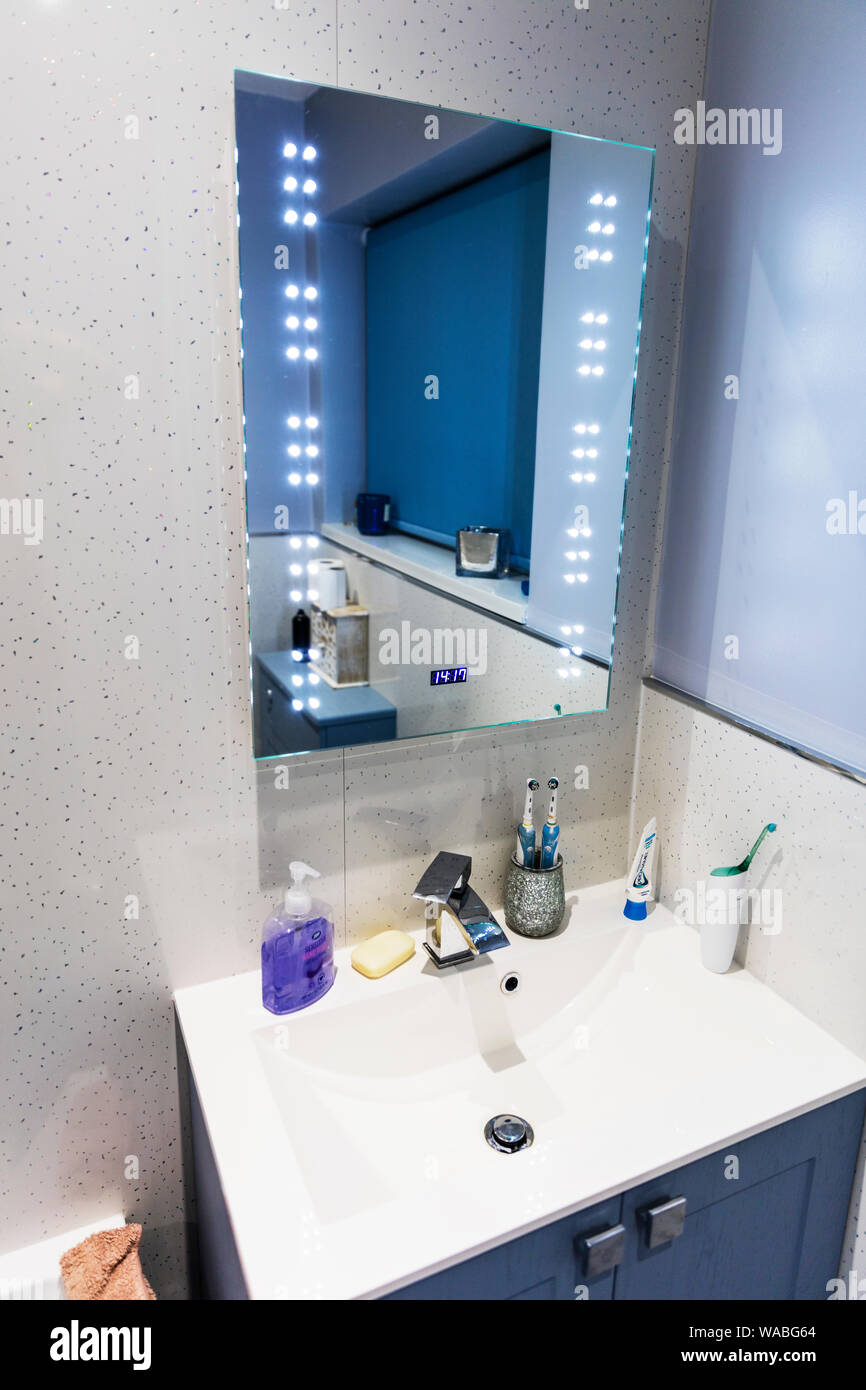 https www alamy com led mirror led bathroom mirror bathroom bathroom sink mirror led mirror lights led cosmetic mirror led light mirrors image264556268 html