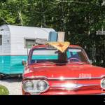 Usa Maine Kennebunkport 1960 S Trailer And Chevrolet Corvair Station Wagon Sign For The Sandy Pines Campground Stock Photo Alamy