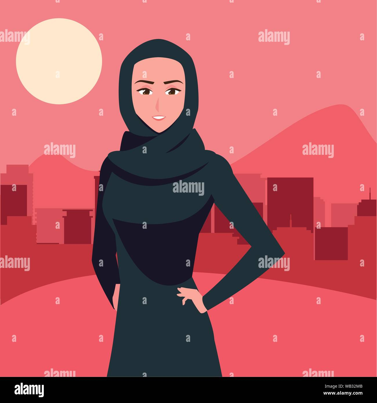 Beautiful muslim woman in hijab. Arab Women Group In A Hijab City Street Background Vector Illustration Stock Vector Image Art Alamy