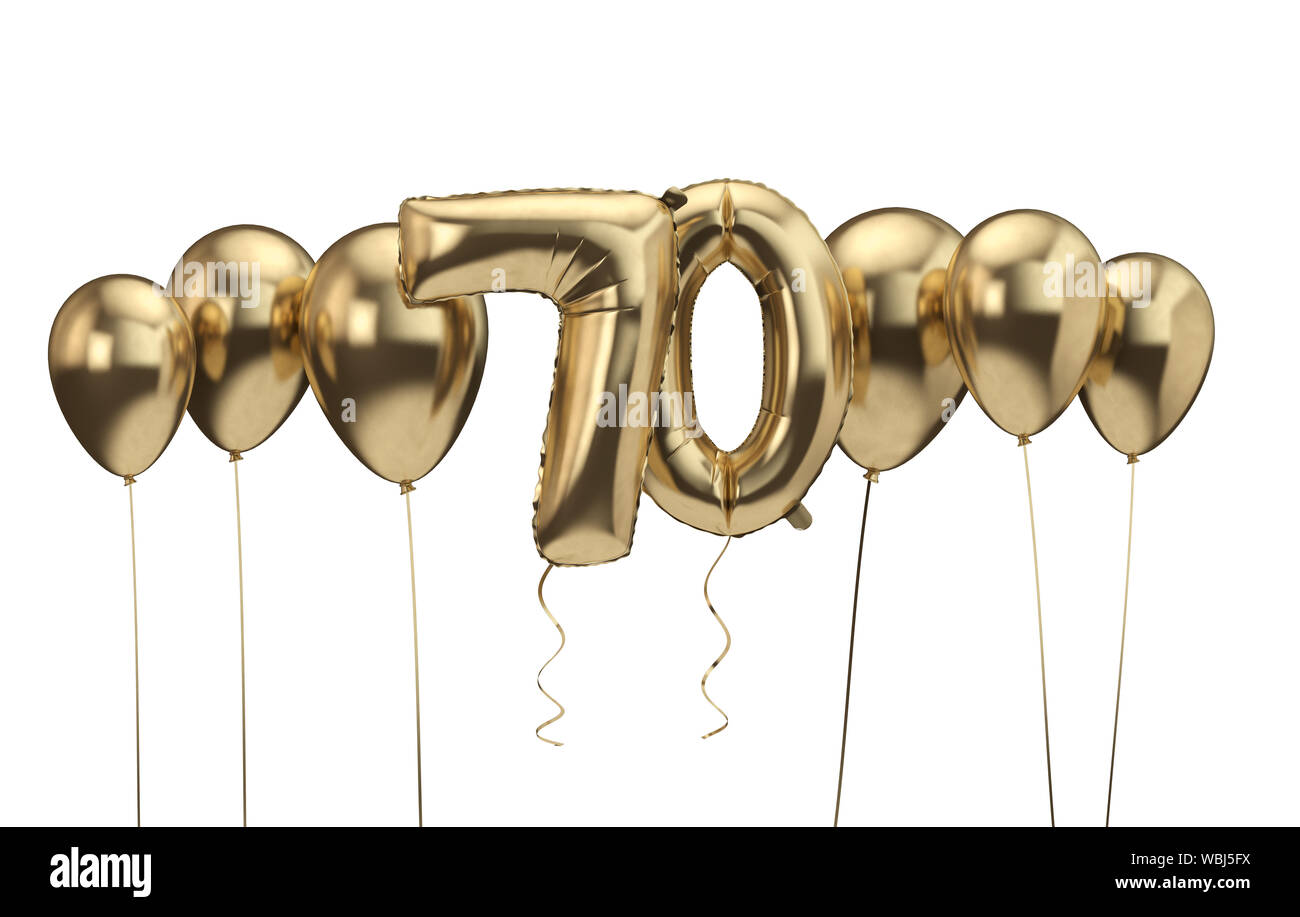 https www alamy com 70th birthday gold balloon background happy birthday 3d rendering image265316238 html