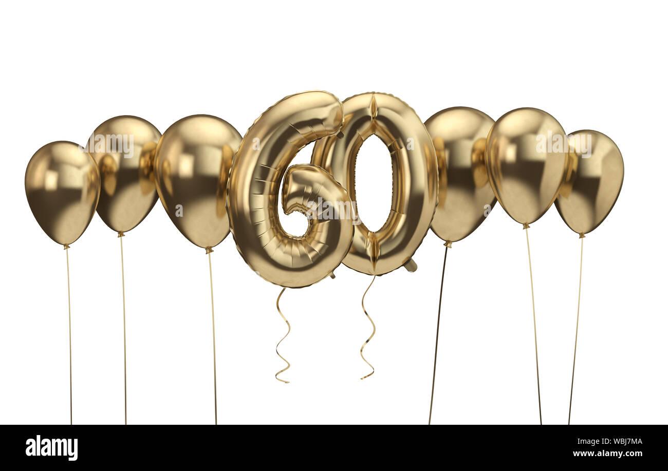 https www alamy com 60th birthday gold balloon background happy birthday 3d rendering image265317930 html