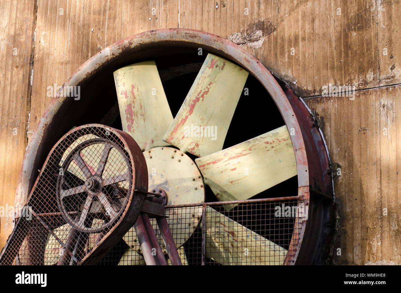 https www alamy com close up of abandoned industrial exhaust fan image270659936 html