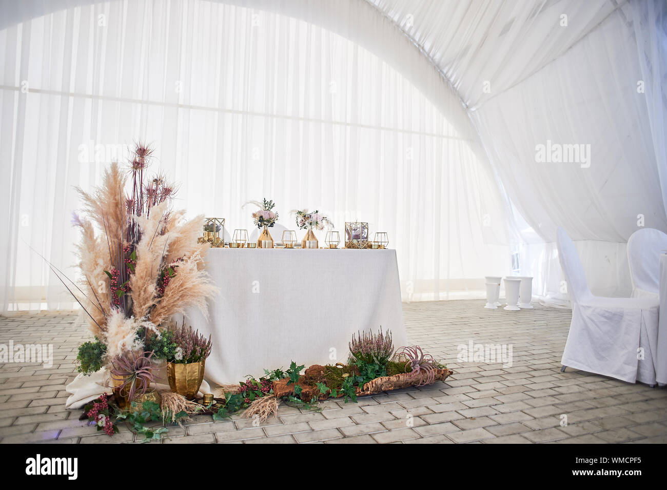 Wedding Decoration In Boho Style Light Colors In The Tent