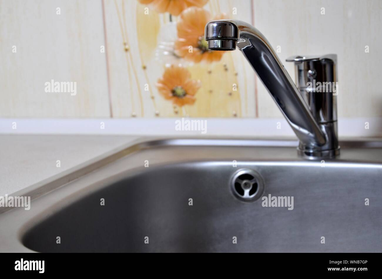 https www alamy com empty clean silvery kitchen sink and water faucet close up indoors image271310726 html