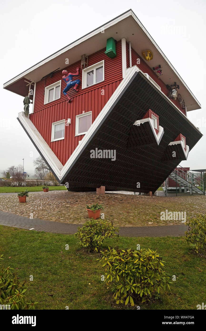 The Crazy House An Upside Down House With Complete Facility Bispingen Lower Saxony Germany Stock Photo Alamy