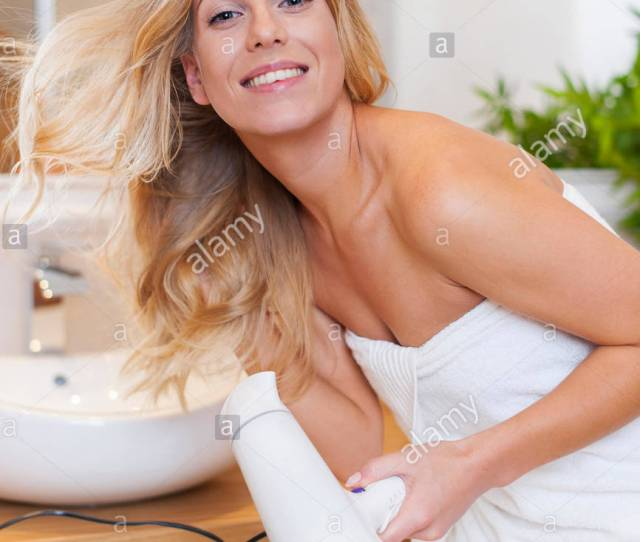 Blonde Woman Drying Hair After The Shower Debica Poland