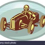 Vintage Race Car Driver Racing With Sunburst Stock Photo Alamy