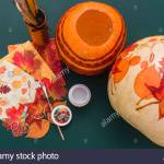 Still Life Diy Autumnal Decoration Pumpkin Napkin Decoupage Stock Photo Alamy