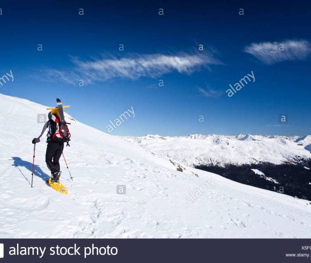 Snow Shoe Hiker During Ascent Of Mt Pfattenspitz Above Durnholz Sarntal Valley At Back South Tyrol Italy Europe