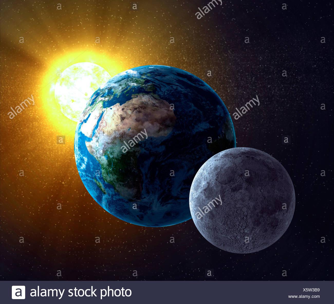 Earth Moon And Sun Artwork Stock Photo