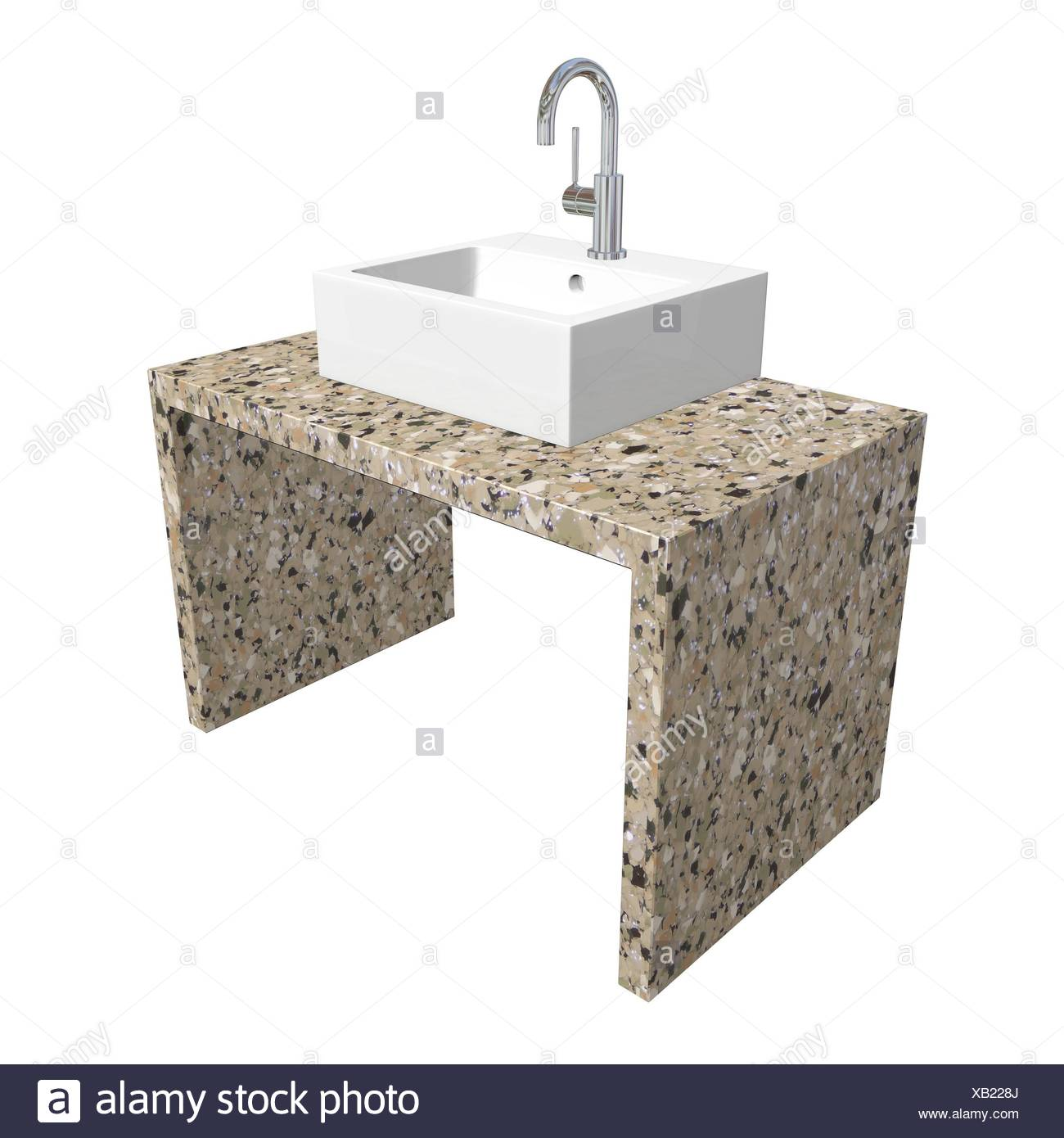 https www alamy com modern bathroom sink set with ceramic or acrylic wash basin chrome fixtures and marble base 3d illustration isolated against a white background image282172818 html