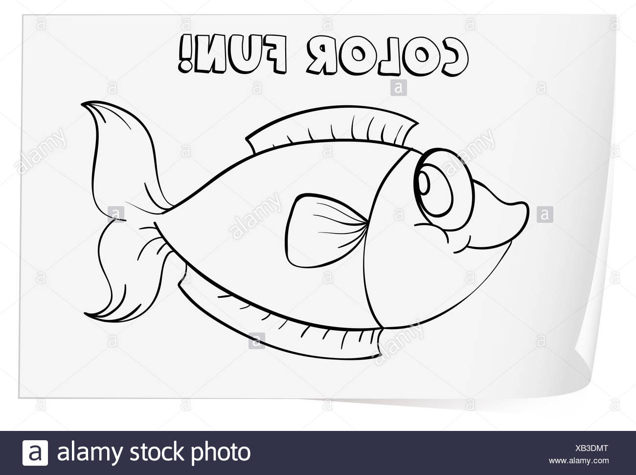 Colour Worksheet Of A Fish Stock Photo