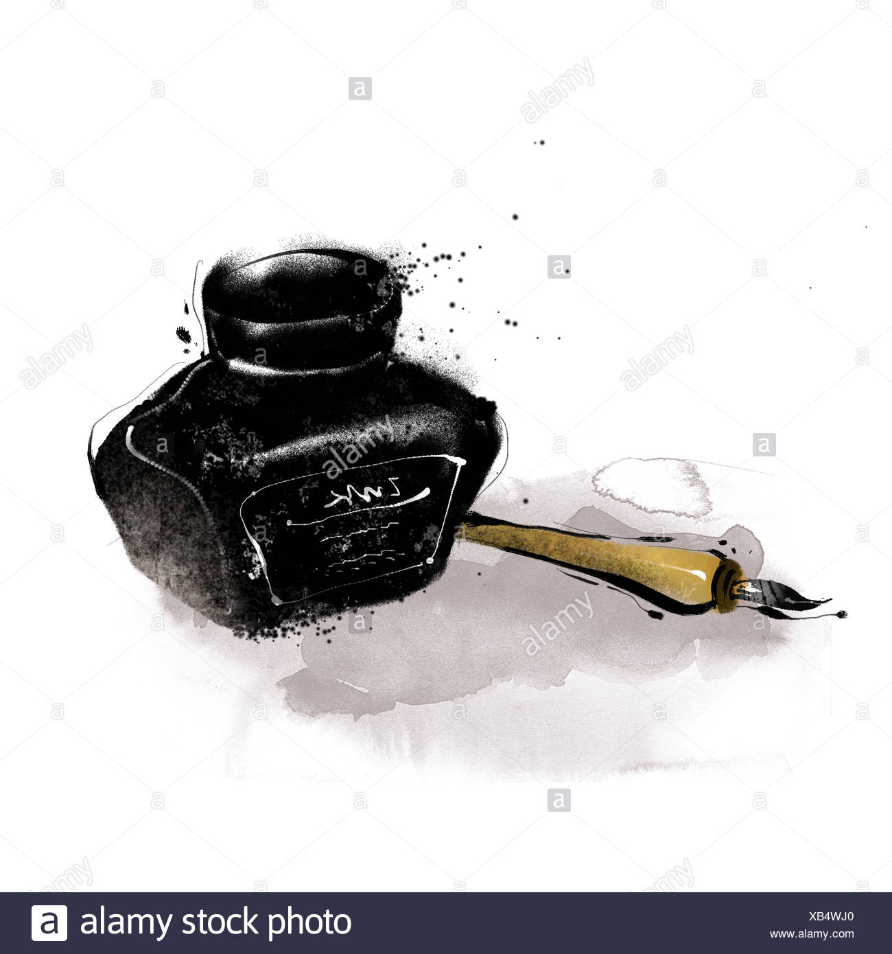 Ink Pot And Ink Pen Stock Photo