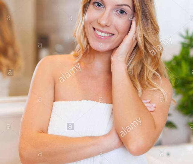 Portrait Of Blonde Woman After Shower Debica Poland