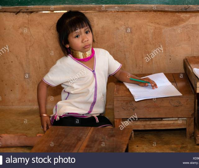 School For Hill Tribes Padaung Girls With Neck Rings Long Necked Women Chiang Rai Northern Thailand Thailand Asia