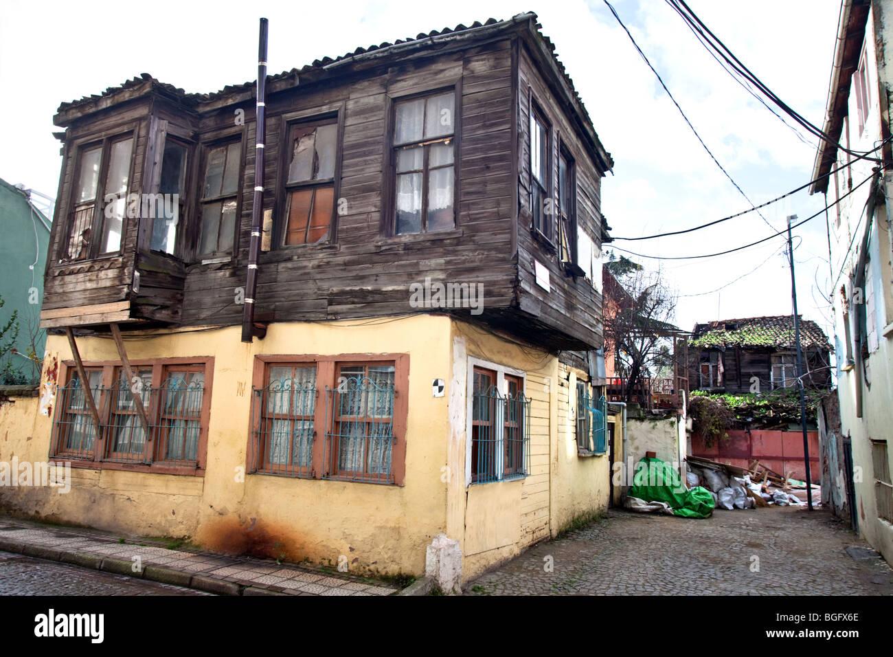 Alte Häuser in Balat Stadtteil von Istanbul Stockfoto