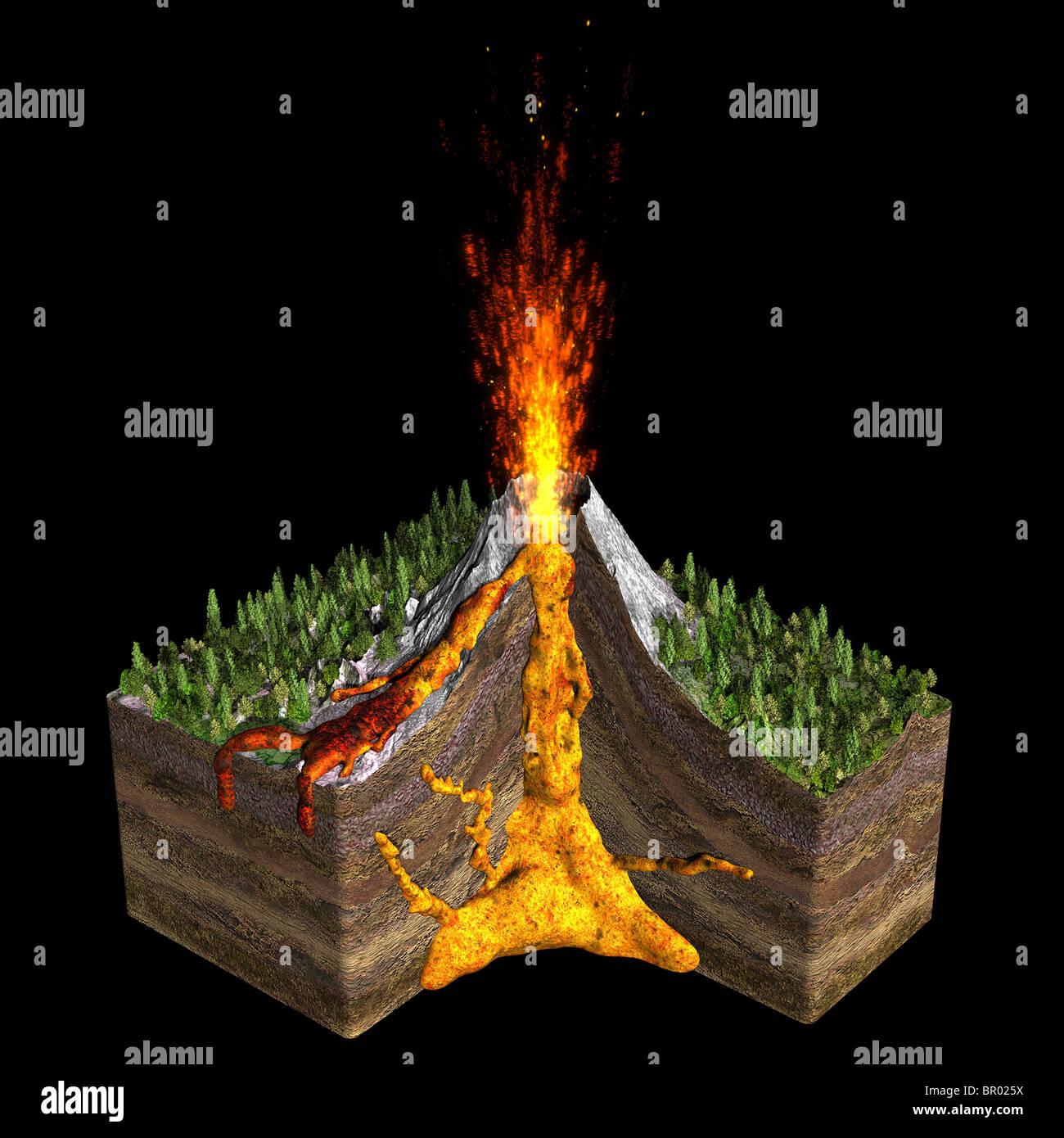 Abbildung Von Einem Vulkan Spuckt Feuer Zeigt Einen