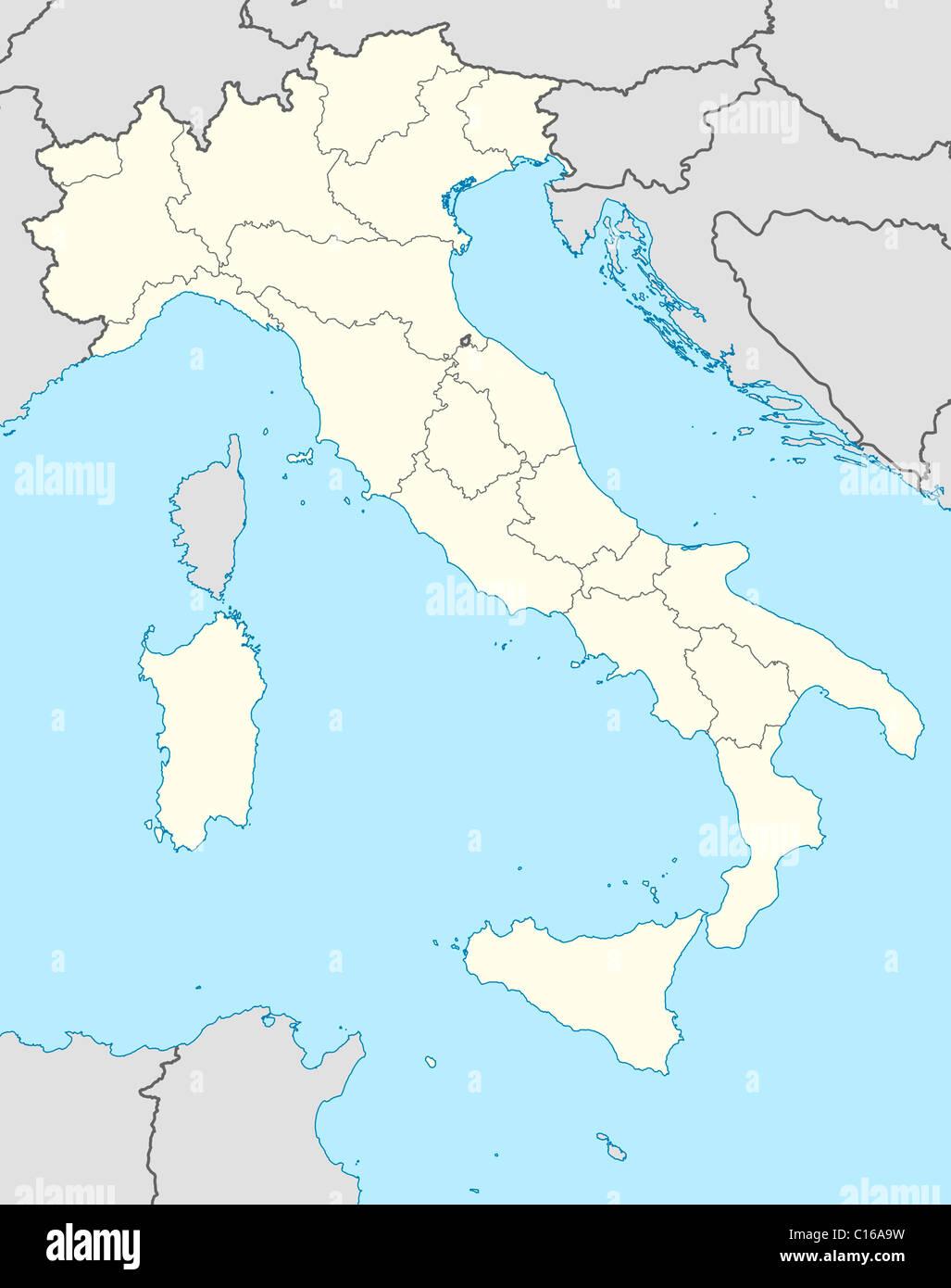 Landkarte Von Italien In Europa Dargestellt