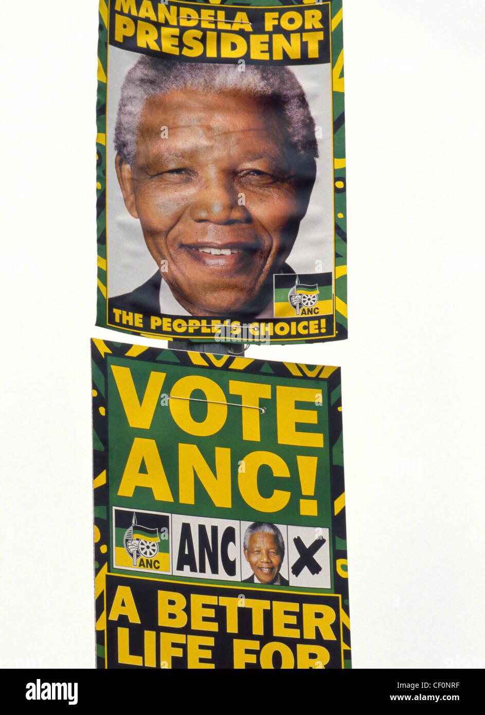 poster drangen wahler in sudafrikas