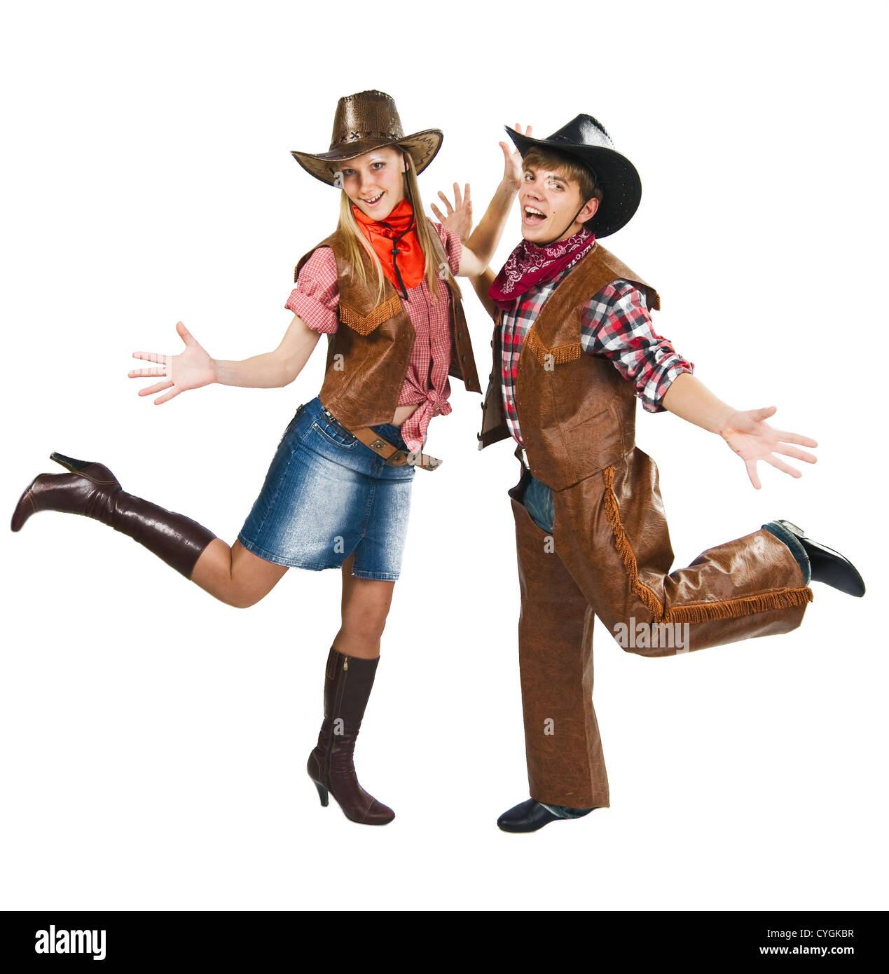 Cowboy Mit Cowgirl Aufgeregt Brautpaar Tanzen Auf Wei