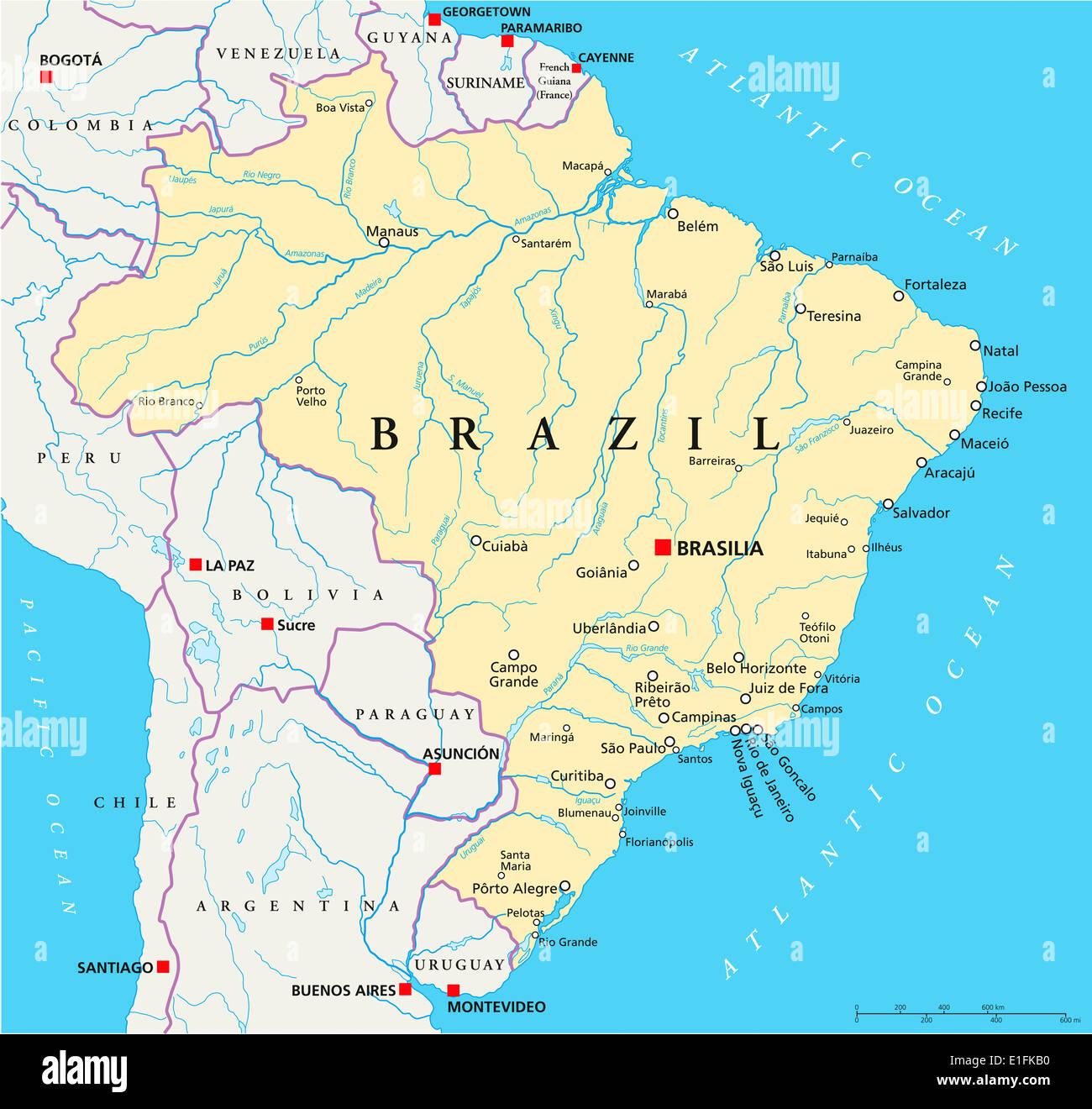 Brasilien Landkarte Mit Hauptstadt Brasilia Landesgrenzen