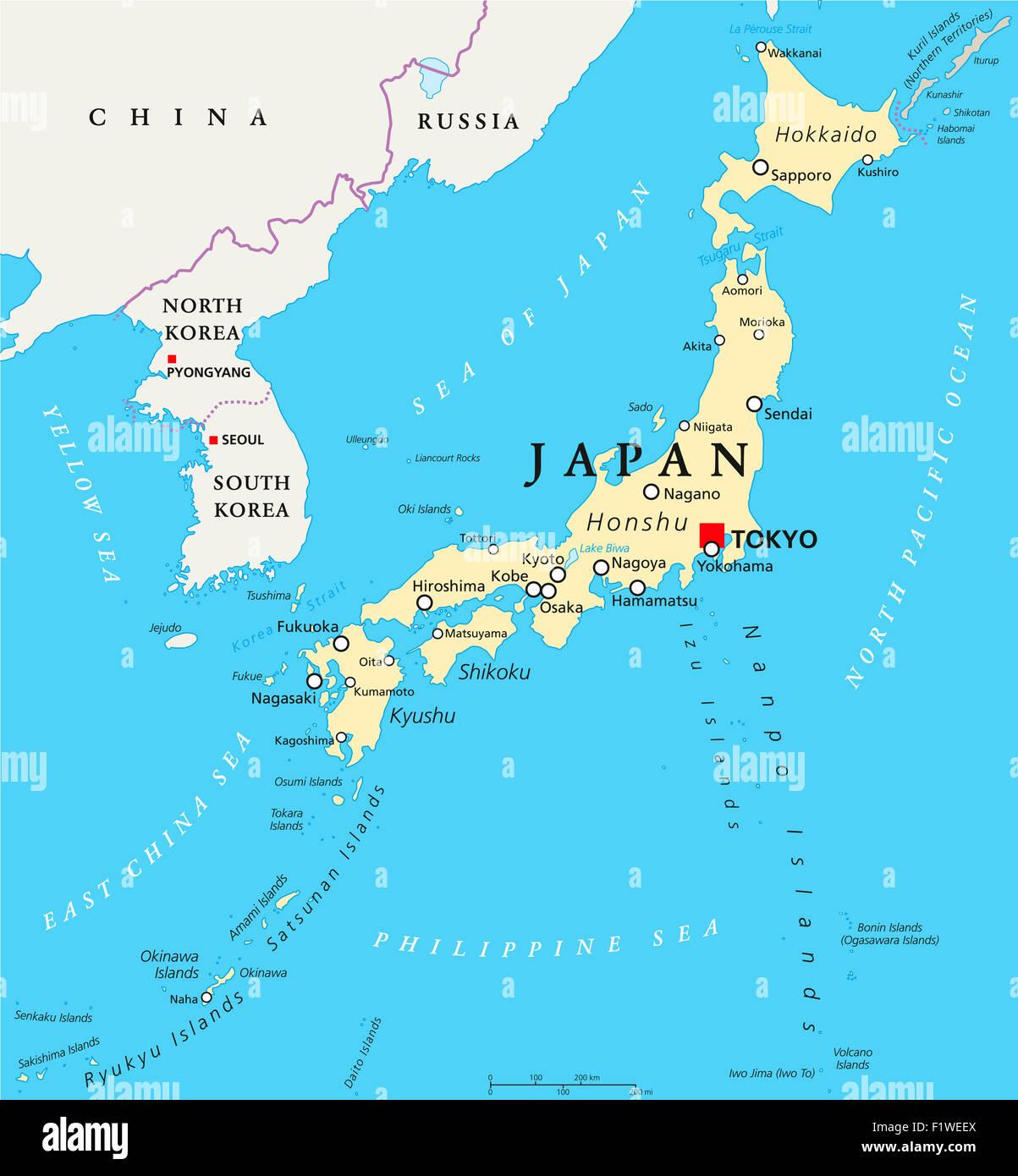 Japan Landkarte Mit Hauptstadt Tokio Nationale Grenzen Und Wichtigen Stadten Englische