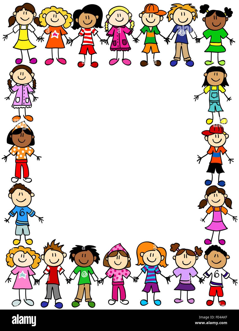 Rahmen Oder Seite Grenze Von Niedlichen Kind Comic Figuren Die Hand In Hand Stockfoto Bild