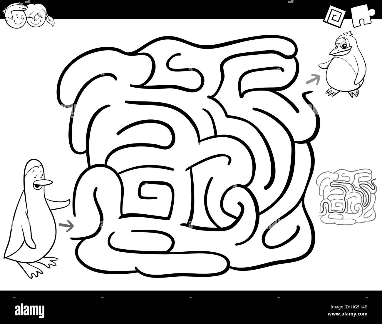 Schwarz Wei Cartoon Illustration Der Bildung Irrgarten