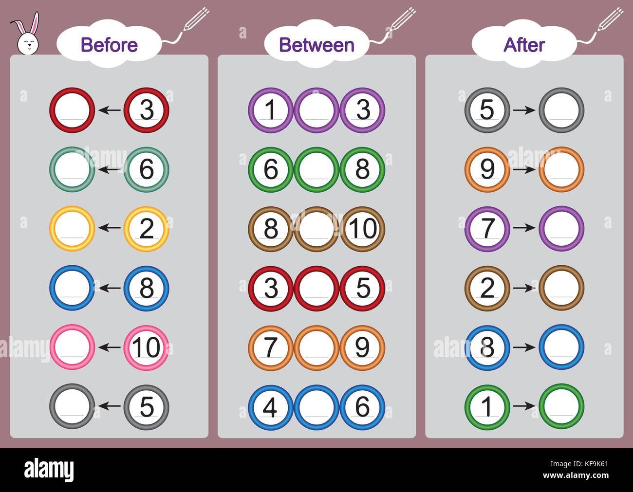 Was Kommt Vor Zwischen Und Nach Mathematik Arbeitsblatter Fur Kinder Vektor Abbildung
