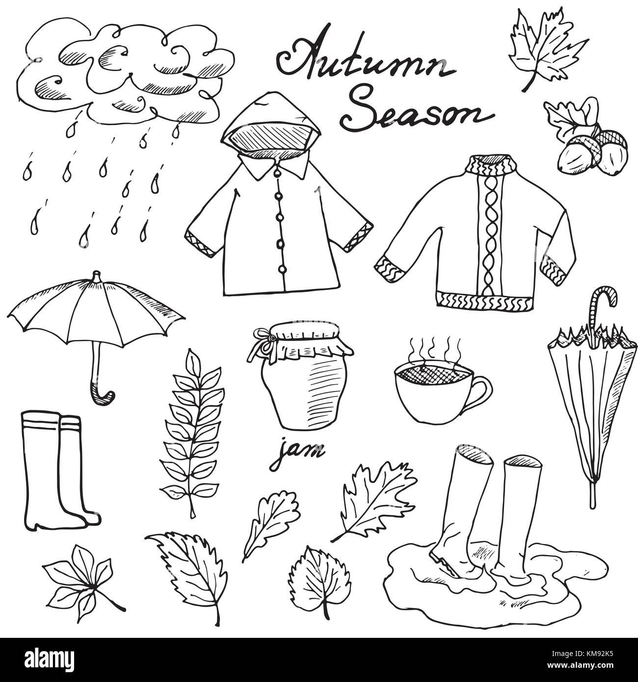 Herbst Jahreszeit Doodles Elemente Hand Gezeichnet Mit
